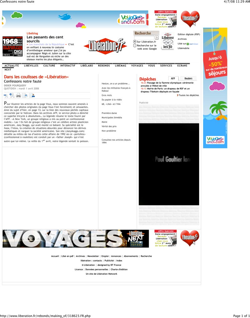 Confessons notre faute, Liberation, April 1, 2008