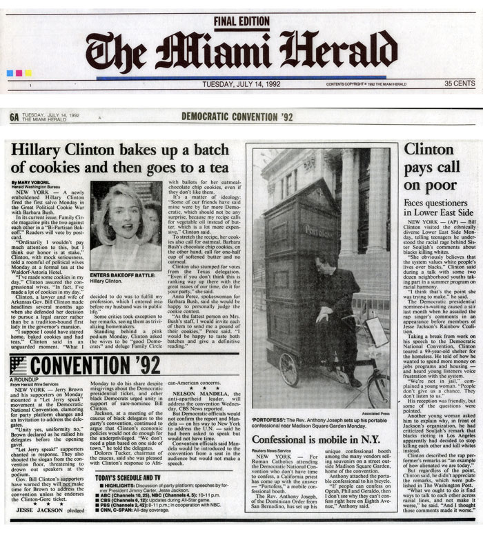Confessional is mobile in N.Y., Miami Herald, July 14, 1992