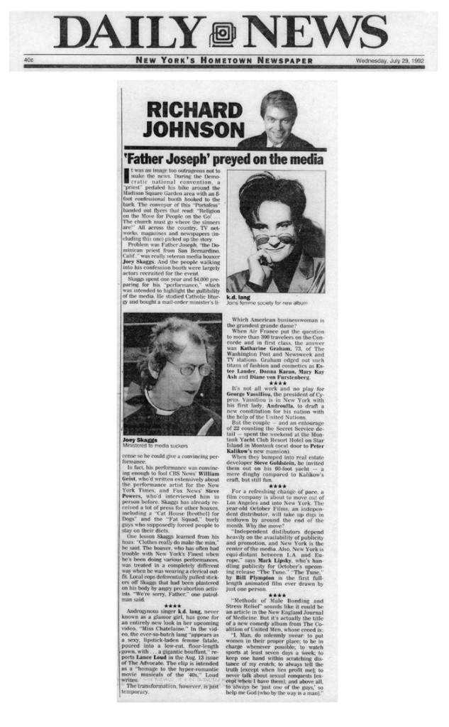'Father Joseph' preyed on the media, by Richard Johnson, Daily News, July 29, 1992