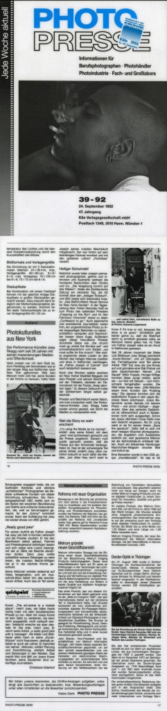 Photokulturelles aus New York, Photo Presse (German), September 24, 1992