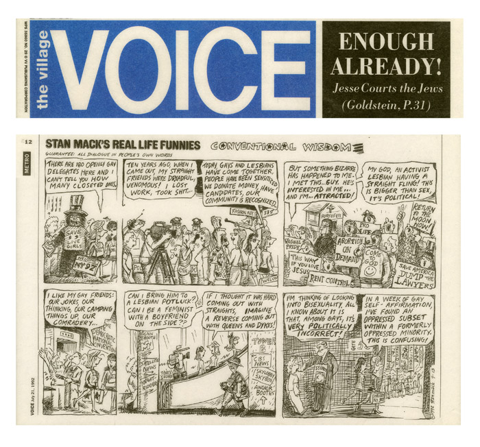Conventional Wisdom, Stan Mack's Real Life Funnies, Village Voice, July 21, 1992