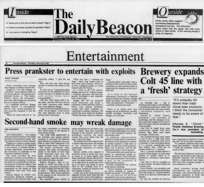 Press prankster to entertain with exploits, The Daily Beacon, January 28, 1993