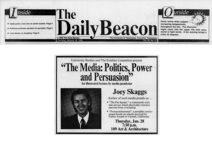 Announcement for Joey Skaggs' upcoming presentation at the University of Tennessee, The Daily Beacon, January 28, 1993