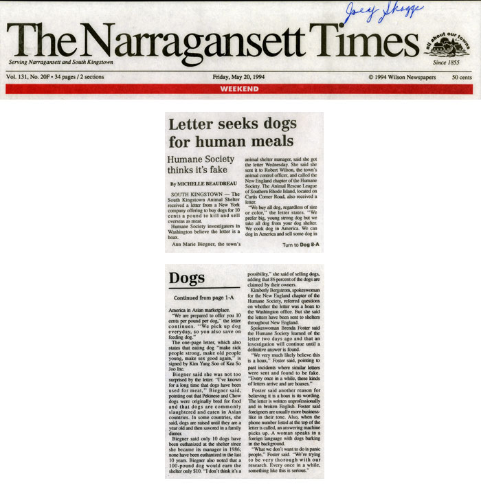 Letter seeks dogs for human meals, The Narragansett Times, May 20, 1994