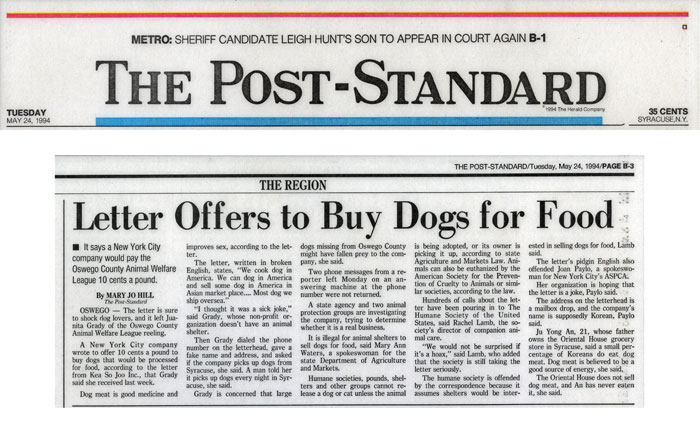 Letter Offers to Buy Dogs for Food, The Post-Standard, May 24, 1994
