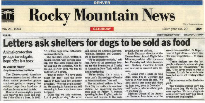 Letters ask shelters for dogs to be sold as food, Rocky Mountain News, May 21, 1994