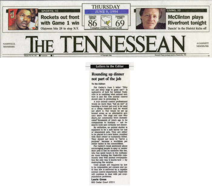 Letter to the Editor: Rounding up dinner not part of the job, The Tennessean, June 9, 1994