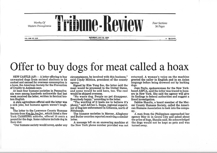Offer to buy dogs for meat called a hoax, Tribune-Review, May 28, 1994