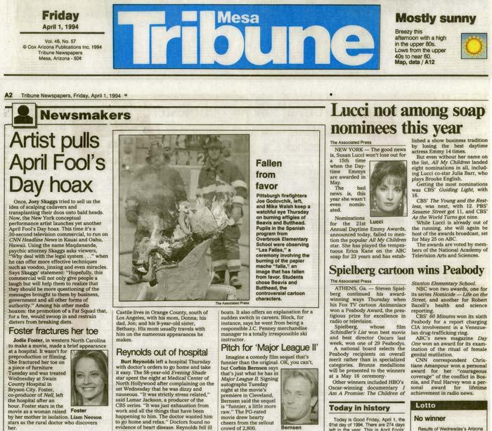 Newsmakers: Artist Pulls April Fools' Day Hoax, Mesa Tribune, April 1, 1994