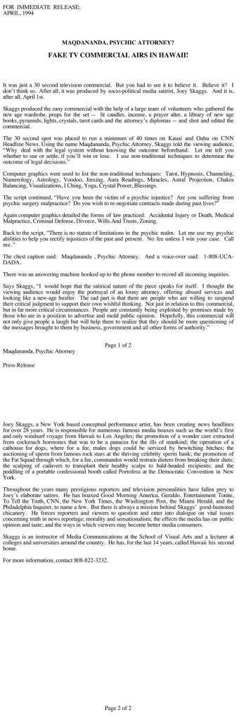 Joey Skaggs exposé press release for Maqdananda, Psychic Attorney hoax, April 1, 1994