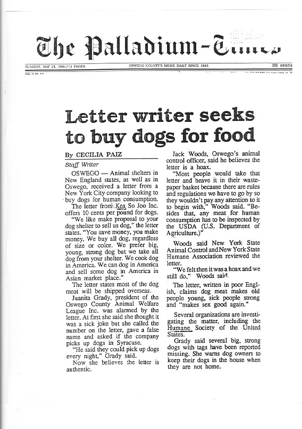 Letter writer seeks to buy dogs for food, The Palladium-Times, May 24, 1994
