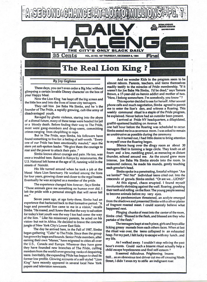 The Real Lion King?, by Joy Gegkass, Daily Challenge, December 8, 1994