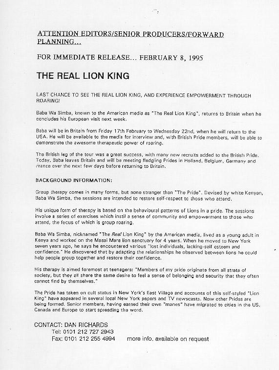 Baba Wa Simba UK Press Release, February 8, 1995