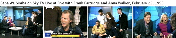 Joey Skaggs being interviewed as Baba Wa Simba by Frank Partridge and Anna Walker on Sky TV's Live at Five, February 22, 1995