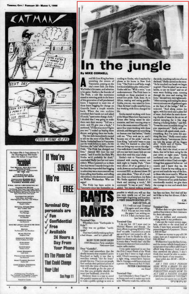 In the Jungle, by Mark Cornell, Terminal City, February 23, 1995