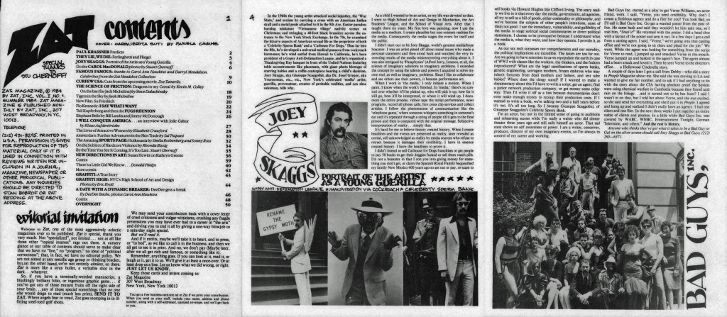 Joey Skaggs, Portrait of the Artist as a Young Guerilla, Zat, Summer 1984