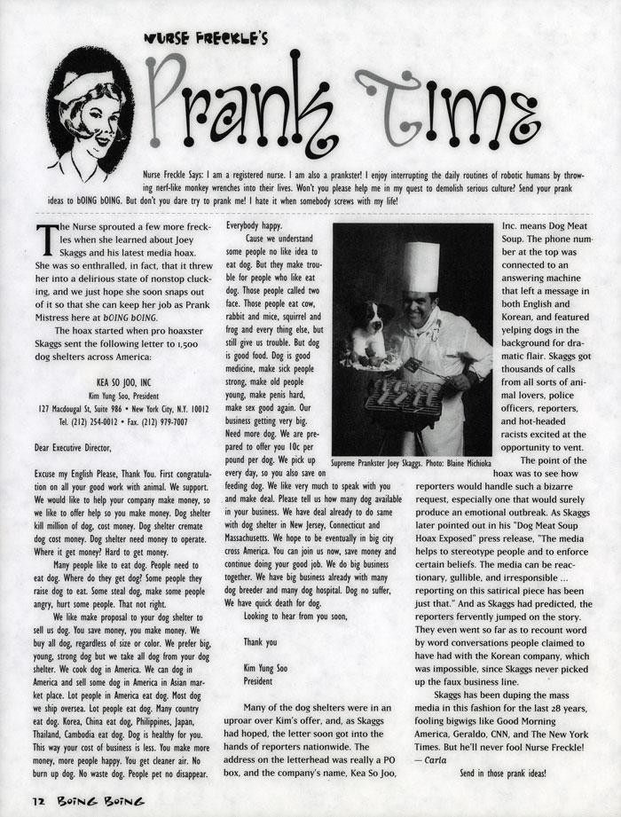 Nurse Freckles Prank Time, Boing Boing, October 1994