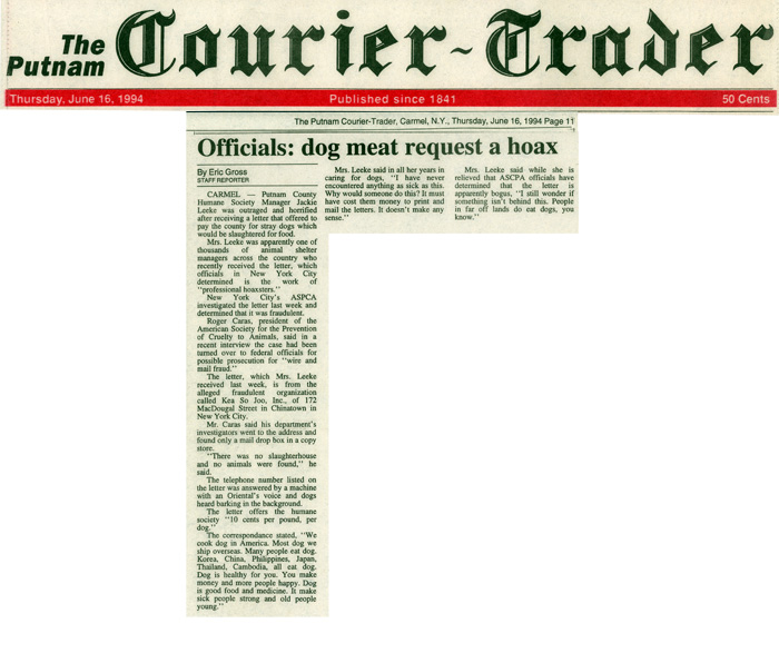 Officials: dog meat request a hoax, The Courier-Trader, June 6, 1994
