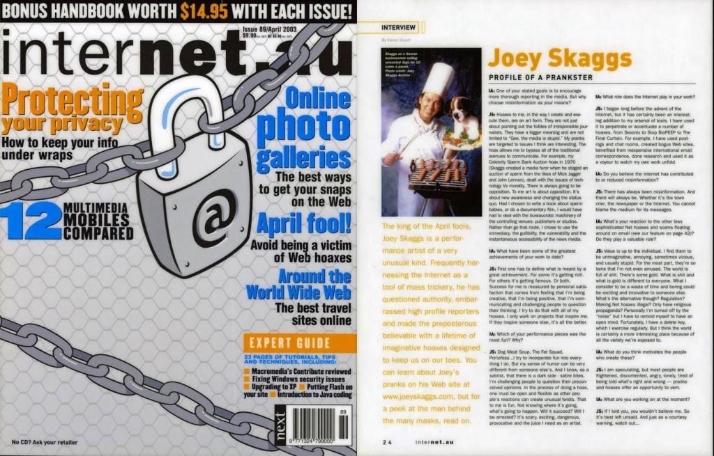 Joey Skaggs, profile of a prankster, Internet.au, April 2003