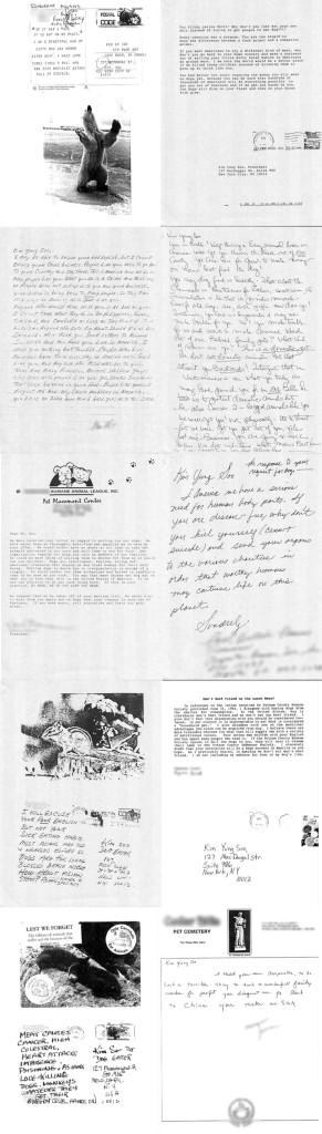 Sampling of Dog Meat Soup letters