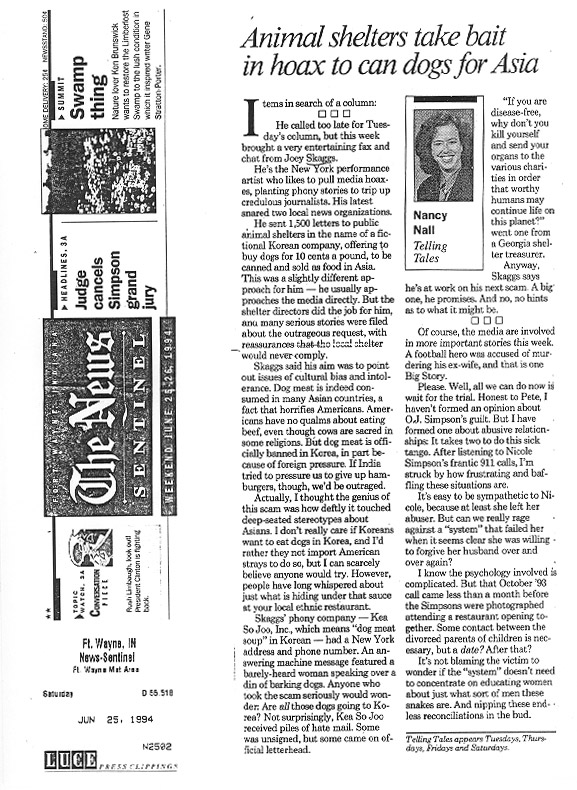Animal shelters take bait in hoax to can dogs for Asia, The Fort Wayne News Sentinel, June 25, 1994