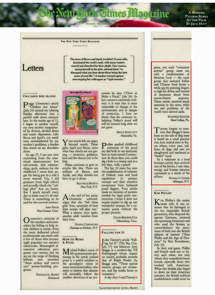 Letters, The New York Times Magazine, August 14, 1994