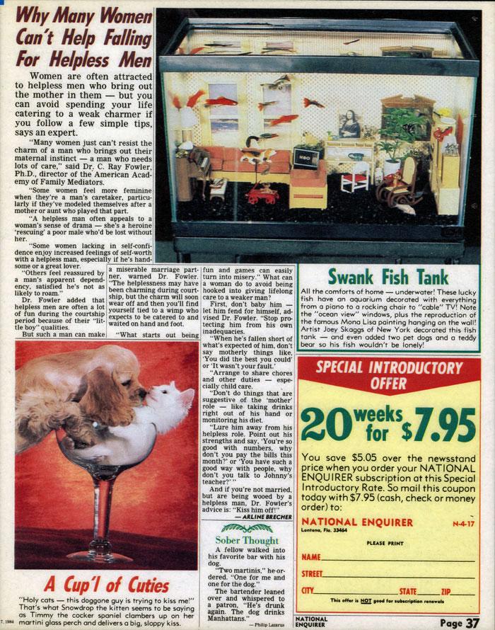 Swank Fish Tank, National Enquirer, April 17, 1984