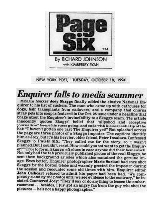 Page Six: Enquirer falls to media scammer, New York Post Page Six, October 18, 1994