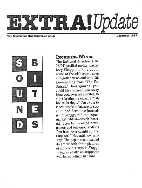 Sound Bites: Inquiring Minds, FAIR Extra Update, December 1994