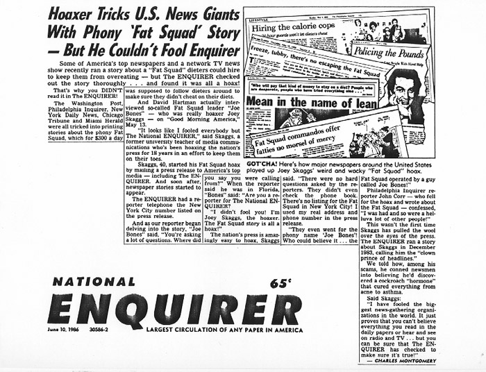 Hoaxer Tricks U.S. News Giants with Phony 'Fat Squad' Story--But He Couldn't Fool Enquirer, National Enquirer, June 10, 1986