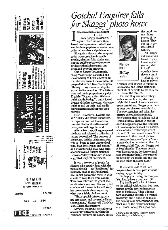 Gotcha! National Enquirer falls for Skaggs' photo hoax, News Sentenial Ft. Wayne IN, October 22, 1994