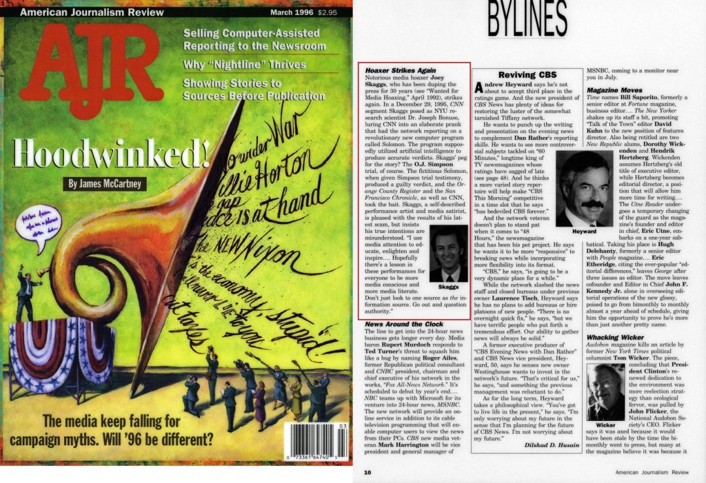 Bylines: Hoaxer Strikes Again, American Journalism Review, October 3, 1996