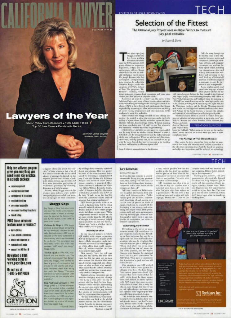 Selection of the Fittest, By Susan E. Davis, California Lawyer, December 1997