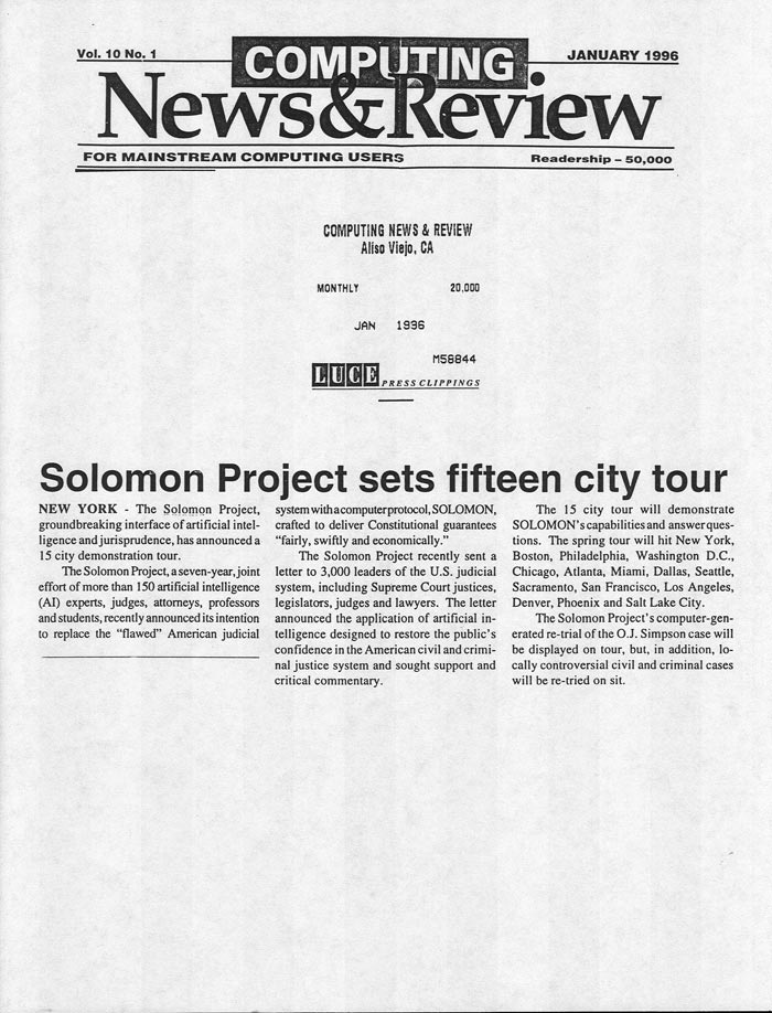 Solomon Project sets fifteen city tour, Computing News & Review, January 1996