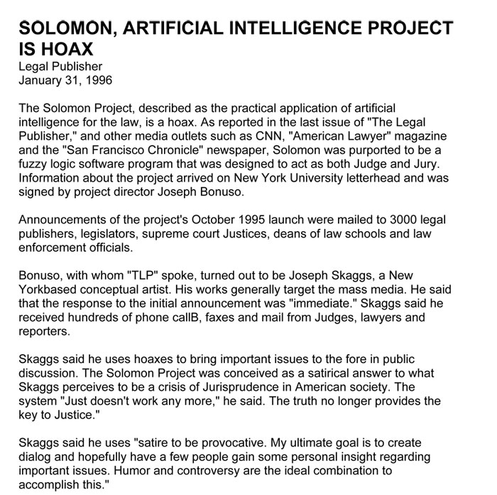 Solomon, Artificial Intelligence Project is Hoax, Legal Publisher, January 31, 1996
