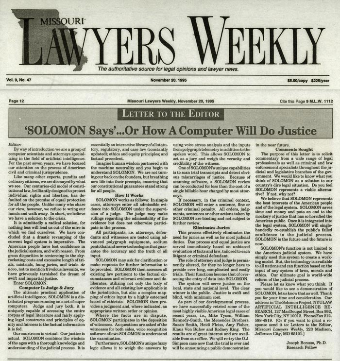 Letter to the Editor: 'Solomon Says'...Or How A Computer Will Do Justice, Missouri Lawyers Weekly, November 20, 1995