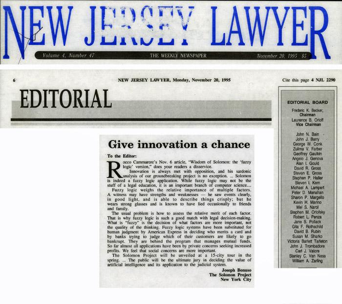 Editorial: Give innovation a chance, by Joseph Bonuso, New Jersey Lawyer, November 20, 1995