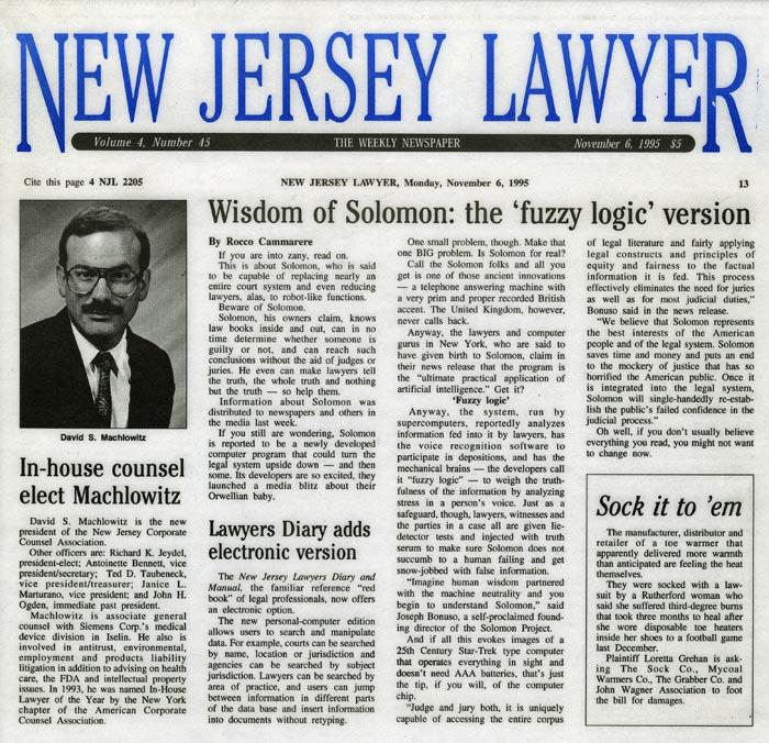 Wisdom of Solomon: the 'fuzzy logic' version, New Jersey Lawyer, November 6, 1995