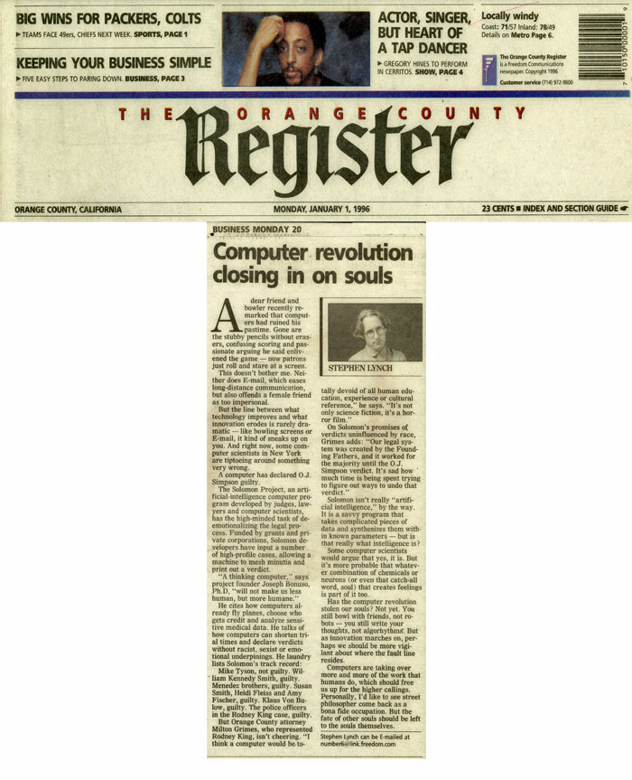 Computer revolution closing in on souls, The Orange County Register, January 1, 1996