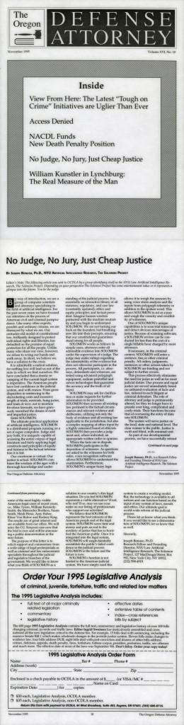No Judge, No Jury, Just Cheap Justice, by Joseph Bonuso, Ph.D., Oregon Defense Attorney, November 1995