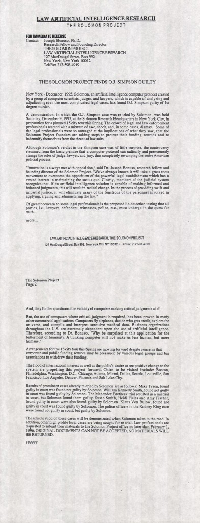 Solomon Project press release #3, December 1995