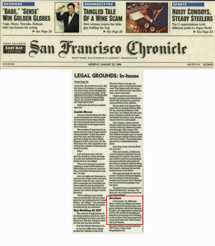 Legal Grounds: In-house, Erratum, San Francisco Chronicle, January 22, 1996