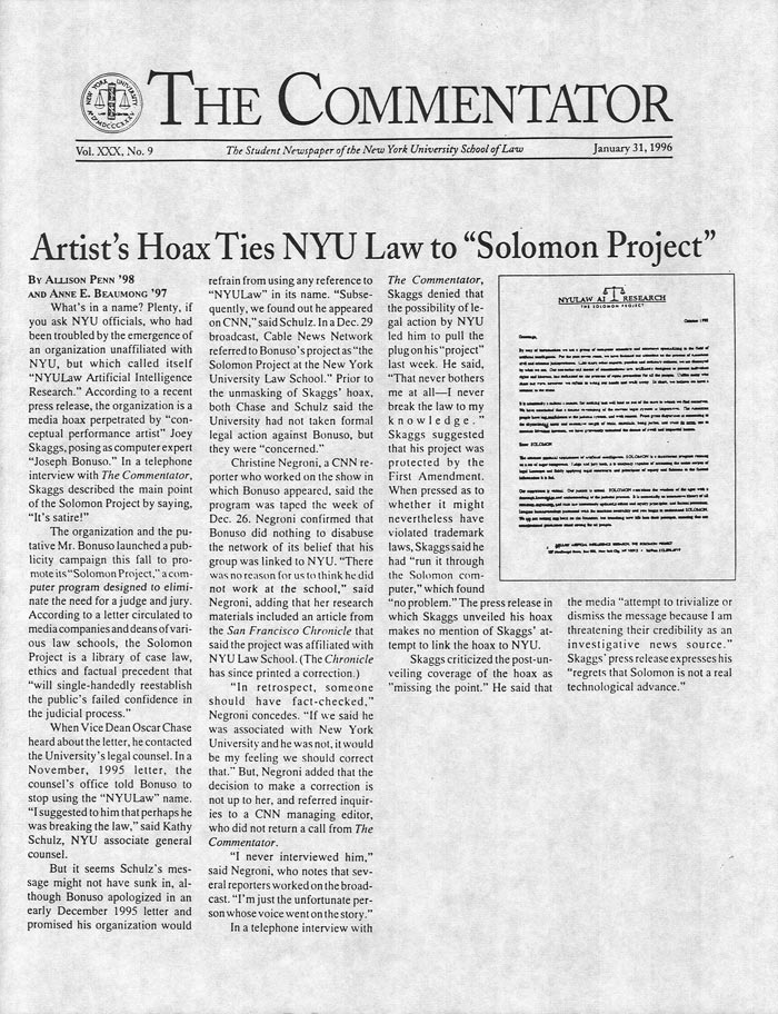 "Artist's Hoax Ties NYU Law to ""Solomon Project"", The Commentator, January 31, 1996"