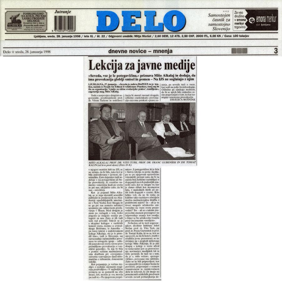 Lekcija za javne medije, Delo (Slovene), January 28, 1998
