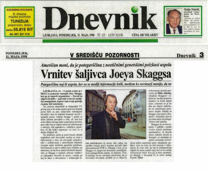 Vrnitev šaljivca Joeya Skaggsa, Dnevnik (Slovene), May 11, 1998