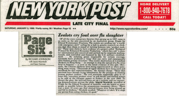Page Six: Zealots cry fowl over flu slaughter, New York Post, January 3, 1998