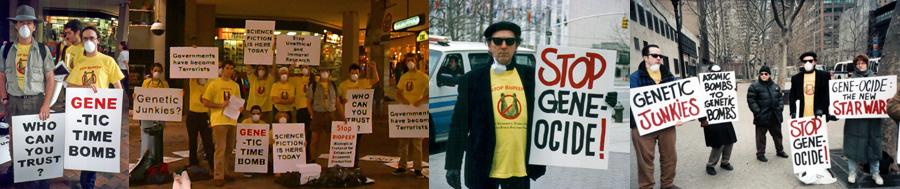Joey Skaggs' Stop BioPEEP hoax protestors
