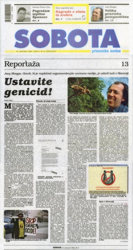 Reportaža: Ustavite genicid!, by Boris Čibej, Sobotaslov (Slovene), January 31, 1998
