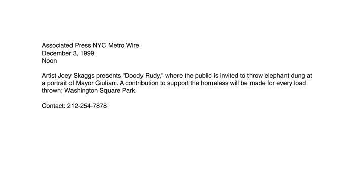 Doody Rudy announcement, AP, December 3, 1999