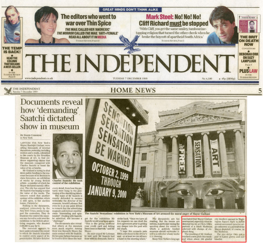 Documents reveal how 'demandiong' Saatchi dictated show in museum, by David Usborne, The Independent, December 7, 1999